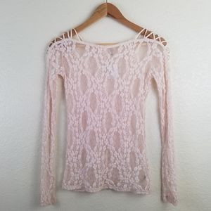 Free People Intimately PINK Lace Sheer Top A1. In